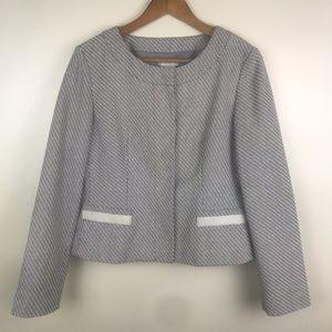 VAN HEUSEN Snap Front Blazer Jacket White Gray